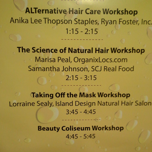 Its going down at my first workshop with @samantha_carrie at 2:15pm here at the @phillynaturalhairshow!!!! Its legit when you see your name blown up on the board! #phillynaturalhairshow #haircare #organixlocs
