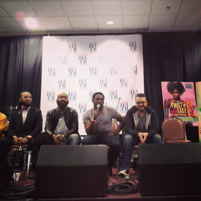 Babe aka @imruggedlygroomed on the NATURALLY LIBERATED: MEN WHO LOVE THEIR WOMEN NATURAL panel w/ @lamontdnyce at the @phillynaturalhairshow. The men were ready to go in!!! #unity #hairlove #womenLove #naturalhair